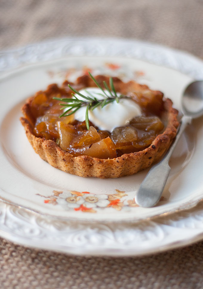 Pear and manuka honey tarts