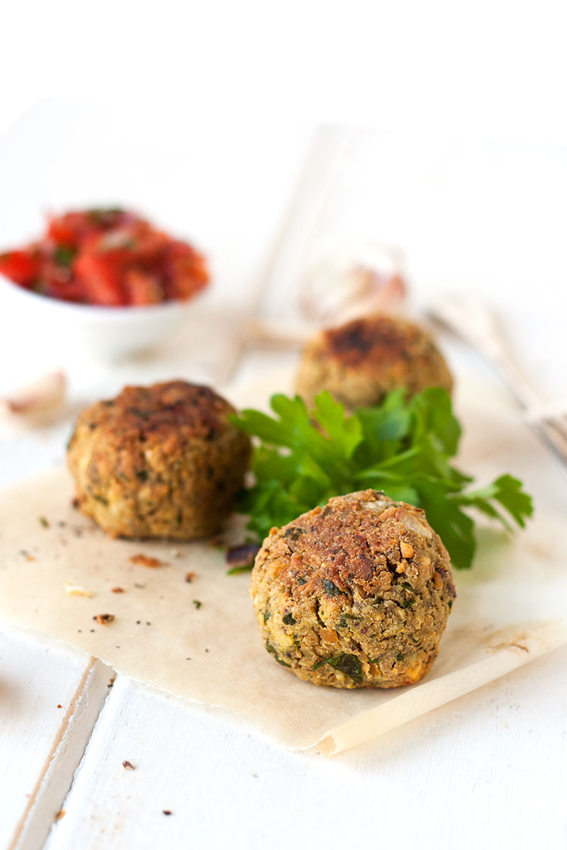 Tasty baked falafels with tomato salsa