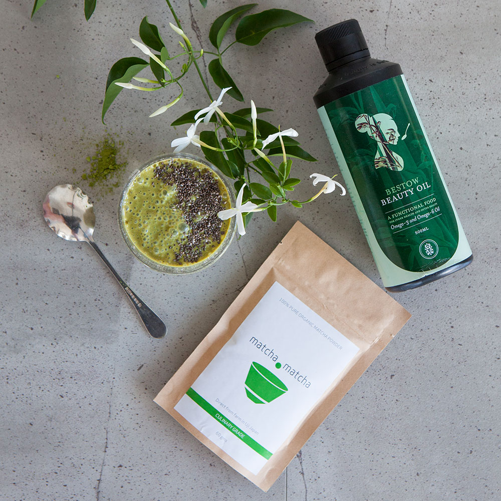 Matcha powder – a great match with Bestow Beauty Oil