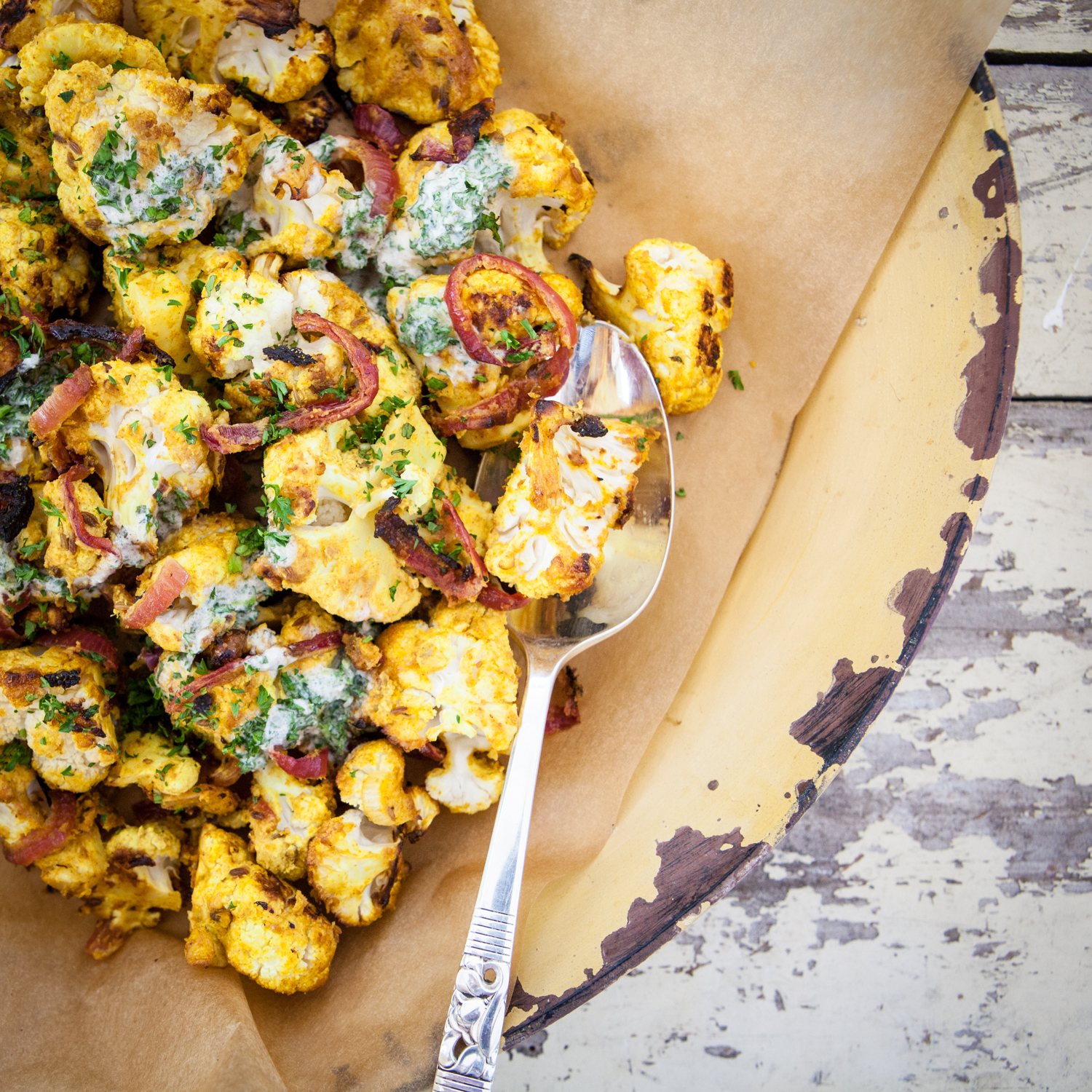Roast Tandoori Cauliflower with Creamy Coconut Mint Dressing